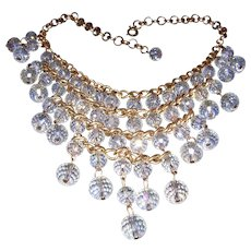 1972 RUNWAY Crystal / Glass WATERFALL Alluring BIB Necklace