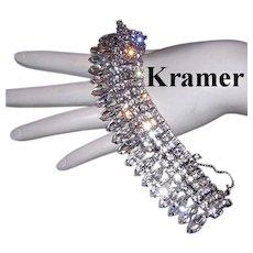 KRAMER Royal Jewels IMPRESSIVE Wide Marquise Rhinestone Bracelet
