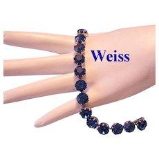 WEISS Sizzling Sapphire Rhinestones Tennis / Line Bracelet
