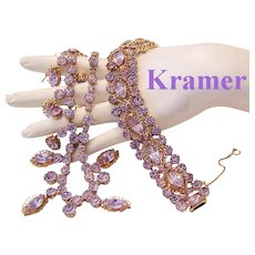 KRAMER Faux ALEXANDRITE Color Changing Rhinestones RARE Necklace & Bracelet