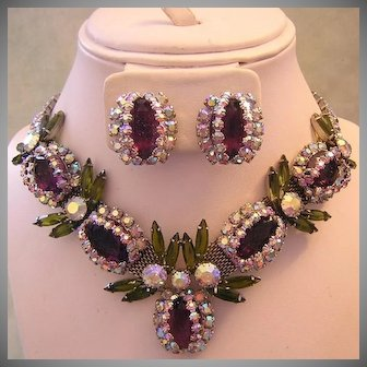 LAVISH Over The Top COUTURE Purple / Amethyst & OLIVINE Rhinestones Statement Necklace & Earrings