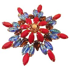1960's Remarkable CARVED Glass & Rhinestones Colorful LARGE Pin / Brooch