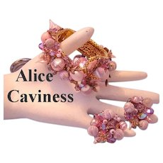 1960's ALICE CAVINESS Captivating Crystals & Baubles Bypass Clamper Bracelet & Earrings