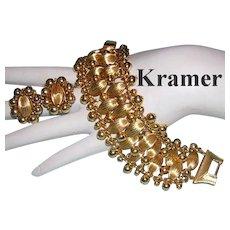 1960's KRAMER Bold Wide Golden Textured Baubles Bracelet & Earrings