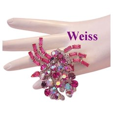 WEISS Rarely Seen Shades of PINK & Purple Rhinestones & Baguettes Pin/ Brooch
