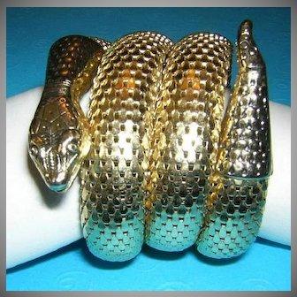 WHITING & DAVIS 3 Coil Brilliant Gold Tone Vintage Snake Bracelet