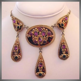 1930's FRED GRAY Rare Amethyst Oval Rhinestones Detailed Dangling Necklace
