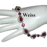 WEISS Fuchsia / Hot Pink Rhinestones & Halo's BRACELET