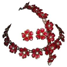 1940's / 50's Red CELLULOID & Rhinestones Floral Motif Necklace Bracelet & Earrings Parure