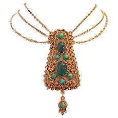 1960's EGYPTIAN Revival Cleopatra Bold Fabulous FESTOON Necklace