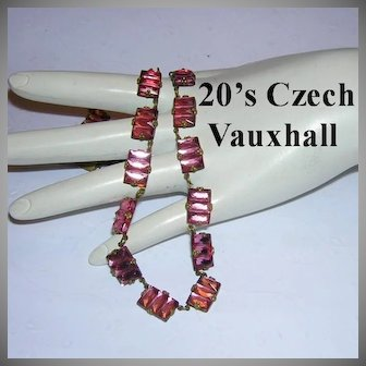 1920's VAUXHALL Step Design CZECH Signed PINK Necklace