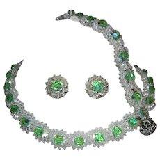 1940's / 50's SPARKING Crystals Necklace Bracelet & Earrings Parure