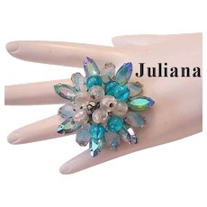 JULIANA Carved Glass Givre Stones Rhinestones & Dangling Baubles Pin / Brooch