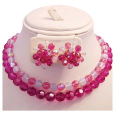 Hot PINK Crystals & Vaseline Look GLASS Necklace & Earrings