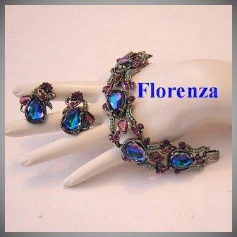 FLORENZA Rare HELIOTROPE Rhinestones & Turquoise Baubles BRACELET & Earrings