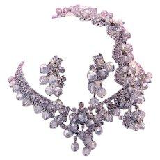 1960's Sassy BRILLIANT Silver Crystals & Black Diamond Rhinestones Necklace Bracelet & Earrings Parure