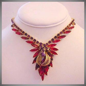JULIANA Book Piece PURPLE & Ravishing RED Rhinestones Spun Wire Filigree Necklace