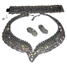 1973 RUNWAY Dramatic ALLURING Rhinestone Necklace Bracelet & Earrings Parure