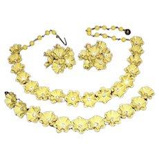 1940's / 50's FLORAL ENAMELED Metal & Rhinestones Canary Summer Necklace Bracelet & Earrings Parure
