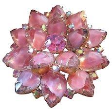 JULIANA 2 Tone PINK Glass & Rhinestones Lotus Blossom Pin / Brooch