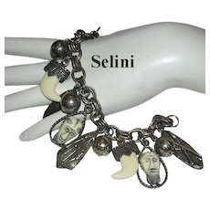 SELINI Signed RARE African Face / Mask Charm Bracelet