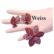 WEISS Raspberry Red & Sparkling RED AB Rhinestones Pin / Brooch & Earrings