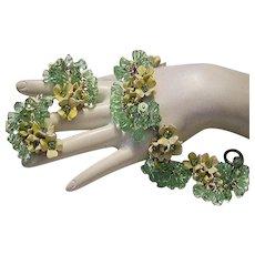 1960's BOLD Dangling Apple Green CRYSTALS & Rhinestones Bracelet & Earrings