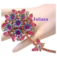 JULIANA Book Piece PINK Rhinestones & PILLOWCASE Stones Figural Flower Pin / Brooch