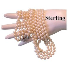 1940's STERLING  Clasp 3 Strand Lustrous Hand Knotted GLASS Pearls Necklace