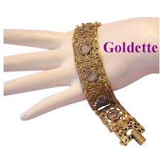 GOLDETTE Lacey Filigree & BEZEL Set Rhinestones Bracelet