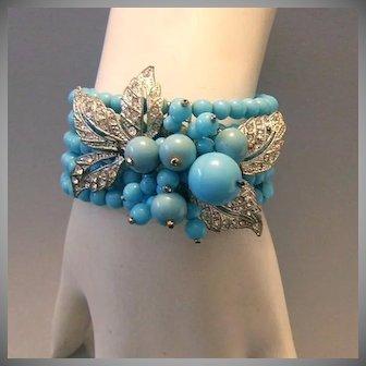 MIRIAM HASKELL Book Piece WIRE Cuff Bracelet With Rhinestones & Glass
