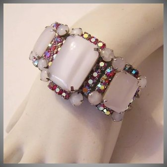 1960's DAZZLING Glass & Raspberry AB Rhinestones CLAMPER Bracelet