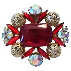 JULIANA Jello RED Rhinestones & Filigree Balls Pin / Brooch Book Piece