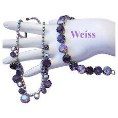 WEISS Grape / Purple / Amethyst RHINESTONES Necklace & Bracelet