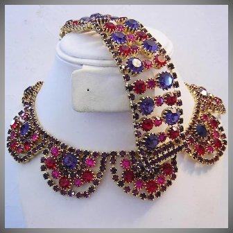 1960's RUNWAY Decadent Hot Pink & Purple Rhinestones WIDE Bracelet & Necklace