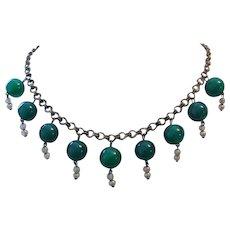 1930's ART DECO Jade, Brass & Glass Pearls FRINGE Necklace