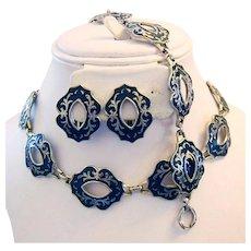 1940's High end JAPANNED & Raised Silver Tone Statement Necklace Bracelet & Earrings Parure