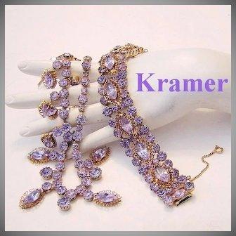 KRAMER Faux ALEXANDRITE Color Changing Rhinestones RARE Necklace & Bracelet