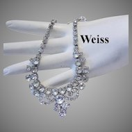 WEISS Signed Rhinestone Necklace With Icing Design PLUS Dangle Earrings