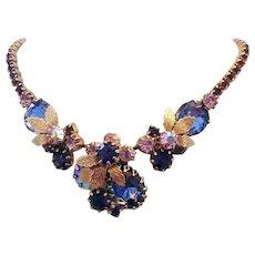 1960's Shades Of PURPLE & Lavender Bi Color Rhinestones Necklace - Red Tag Sale Item