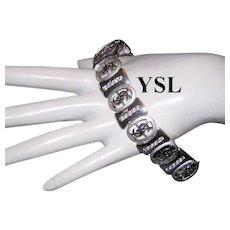 1980's YSL Yves Saint Laurent COUTURE Impressive Rhinestone Bracelet