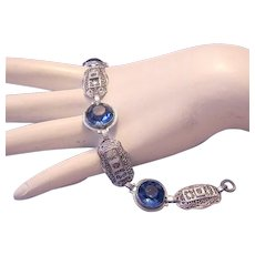 1920's Art Deco Alluring AZURE Blue Faceted Point Back Rhinestone Pierced Bracelet