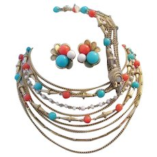 1960's SUPERB 9 Strand Faux Turquoise & Carnelian Necklace Bracelet & Earrings PARURE