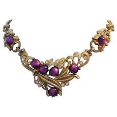 1930's DECO Captivating Purple Moonglow & Rhinestones Ornate Necklace