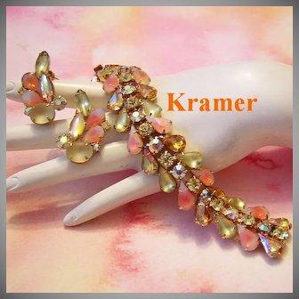 KRAMER Sherbet Colors Givre Glass & Rhinestones Book Featured BRACELET & Earrings