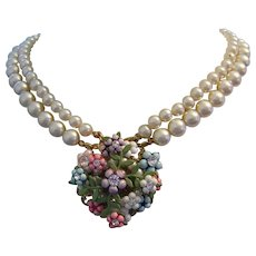 1950's LUSTROUS Faux Pearls Rhinestones & Colorful Baubles Necklace