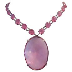1920's ART DECO Bold Pink Glass & Open Back Rhinestones Long STERLING Necklace