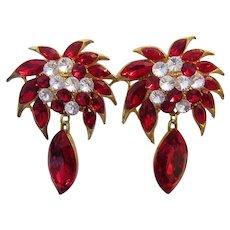 1970's RUNWAY Red Rhinestones BOLD Statement Earrings