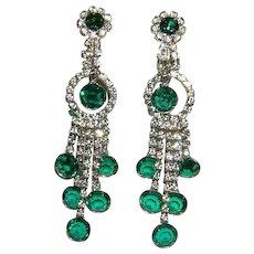 1960's Sassy LONG Dangling Emerald Bezel Set RHINESTONE Earrings