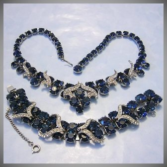 1960's DECADENT Navy / Deep Sapphire Blue Rhinestones With ICING Necklace & Bracelet